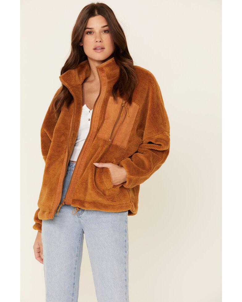 Very J Women's Sherpa Lined Corduroy Zip-Front Jacket , Camel, hi-res