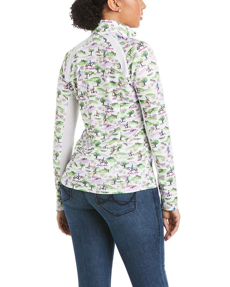 Ariat Women's Women's Cross Country Print Sunstopper 2.0 1/4 Zip Pullover , Multi, hi-res
