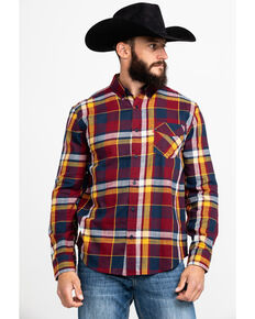 Levi's Men's Red Bellore Madras Plaid Long Sleeve Western Flannel Shirt , Red, hi-res