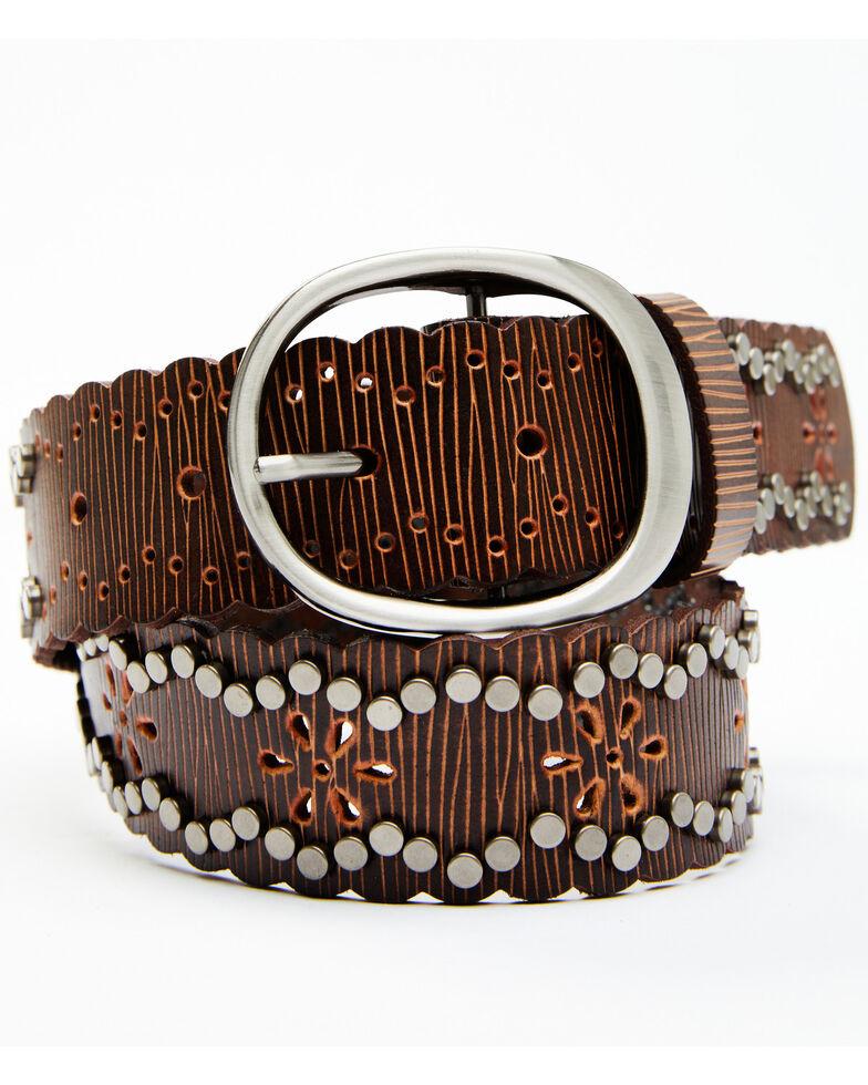 Shyanne Women's Studded Edge Starburst Belt, Brown, hi-res