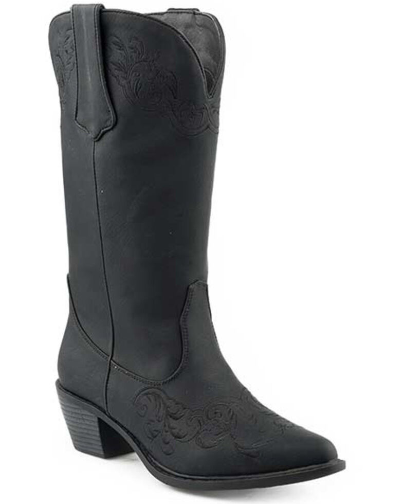 Roper Women's Faux Leather Allover Black Western Boots - Round Toe, Black, hi-res