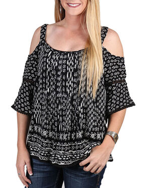 Bila Women's Pattern Cold Shoulder Blouse , Black, hi-res