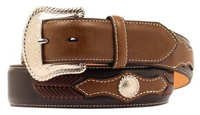 Nocona Scalloped Overlay with Concho Leather Arrow Lacing Belt, Black, hi-res