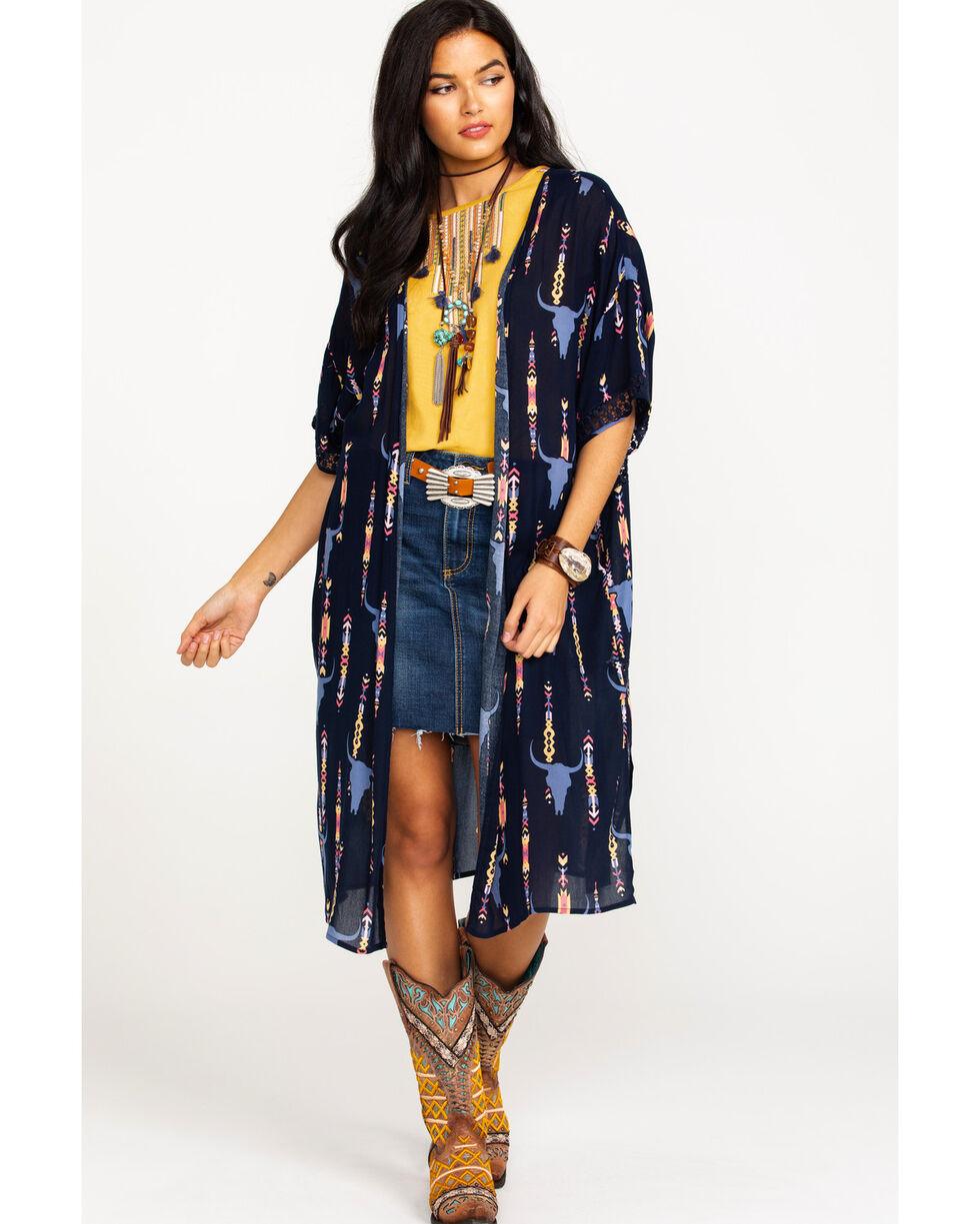 Ariat Women's Taci Steer Head Print Kimono, Multi, hi-res