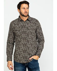 Moonshine Spirit Men's Whiskey A Go Go Paisley Print Long Sleeve Western Shirt , Brown, hi-res
