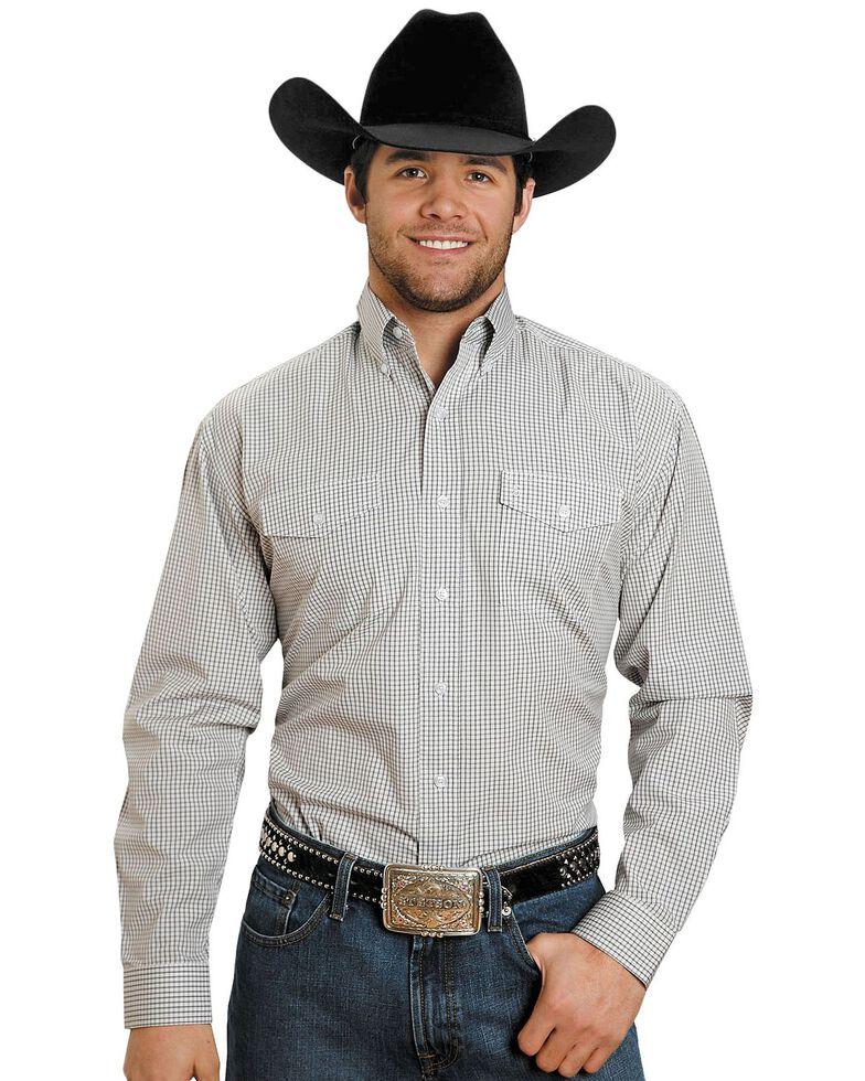 Stetson Plaid Check Button Shirt, Brown, hi-res