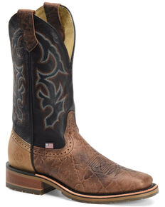 Double H Men's Grissom Western Boots - Wide Square Toe, Cognac, hi-res