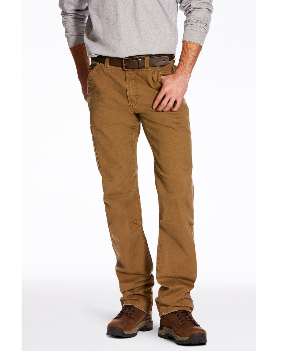Ariat Men's Khaki Rebar M4 Washed Twill Dungaree Work Pants , Beige/khaki, hi-res