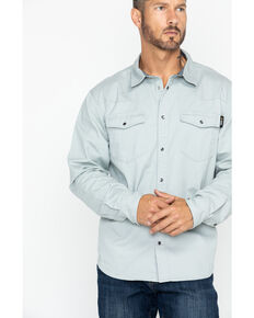 Hawx® Men's Grey Twill Snap Western Work Shirt - Big , Light Grey, hi-res