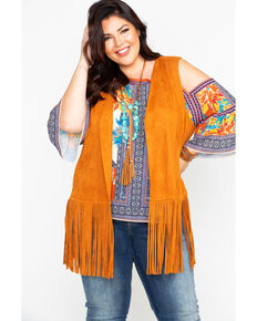 Flying Tomato Women's Faux Suede Fringe Vest - Plus Size, Tan, hi-res