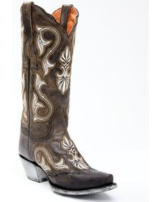Dan Post Women's Grey Embroidery Western Boots - Snip Toe, Grey, hi-res