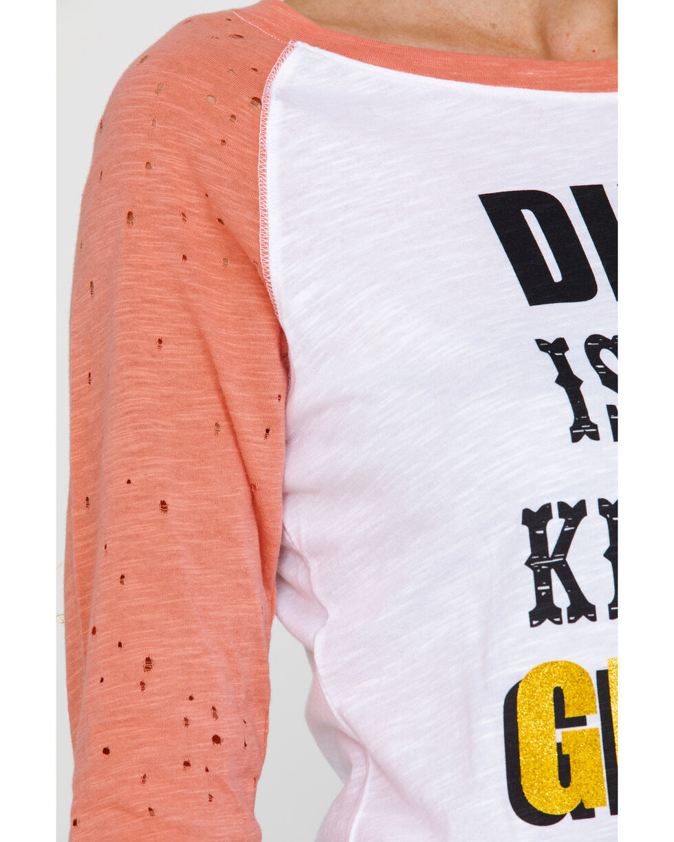 Ariat Women's Dirt Is My Kind Of Glitter Graphic Baseball Tee, Coral, hi-res