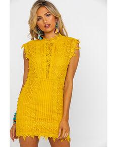Free People Women's Honey Mini Lace Dress, Dark Yellow, hi-res