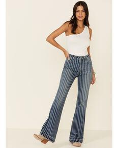Rock & Roll Denim Women's Striped Trouser Pants, Blue, hi-res