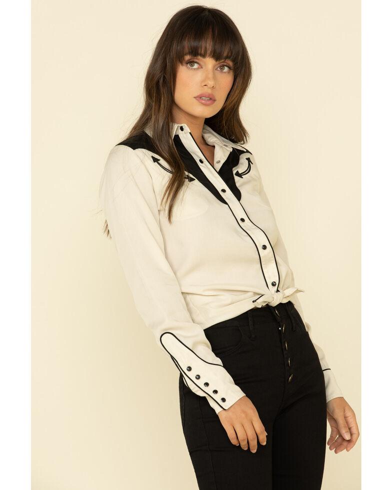 H Bar C Women's White San Juan Long Sleeve Western Shirt , White, hi-res