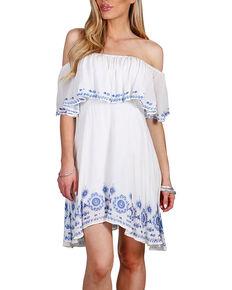 Shyanne Women's Floral Off The Shoulder Dress, White, hi-res
