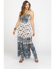3a659c108e71 Angie Women s Cream   Blue Paisley Print Maxi Dress