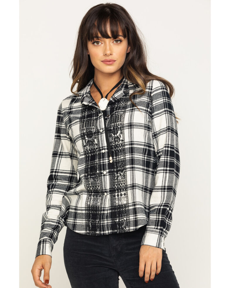 Shyanne Life Women's Black & White Embroidered Flannel Long Sleeve Shirt, Black/white, hi-res