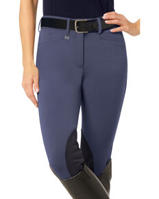 Ovation Women's Teen Celebrity DX Knee Patch Breeches, Indigo, hi-res