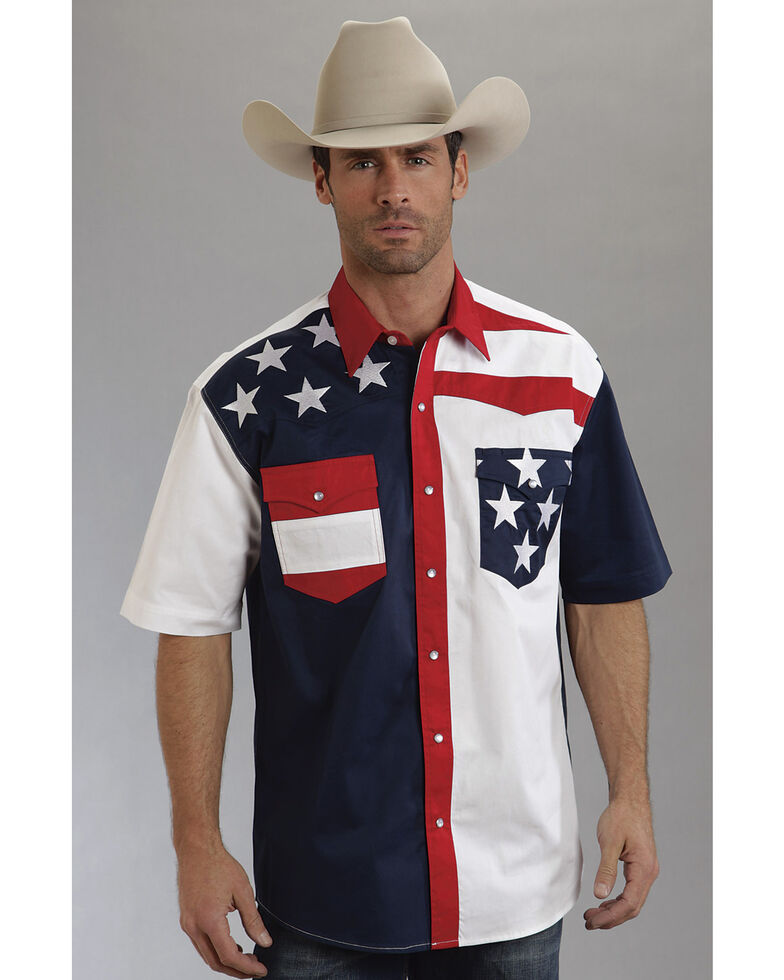 Roper Americana Collection Men's Stars and Stripes Print Short Sleeve Western Shirt, Patriotic, hi-res
