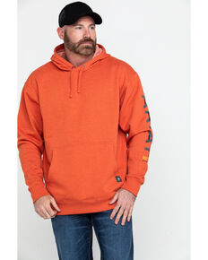 Ariat Men's Volcanic Heather Rebar Graphic Hooded Work Sweatshirt - Big & Tall , Heather Orange, hi-res