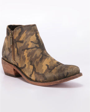 Liberty Black Women's Camo Western Booties - Round Toe, Camouflage, hi-res