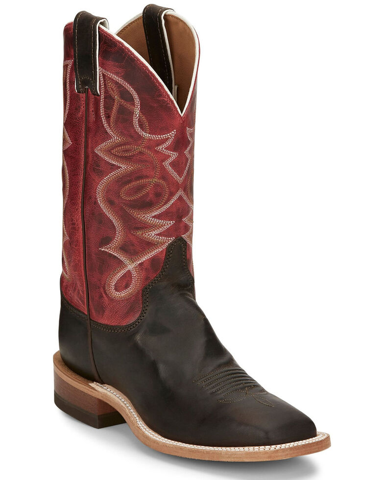 Justin Women's Moore Chocolate Western Boots - Wide Square Toe, Chocolate, hi-res