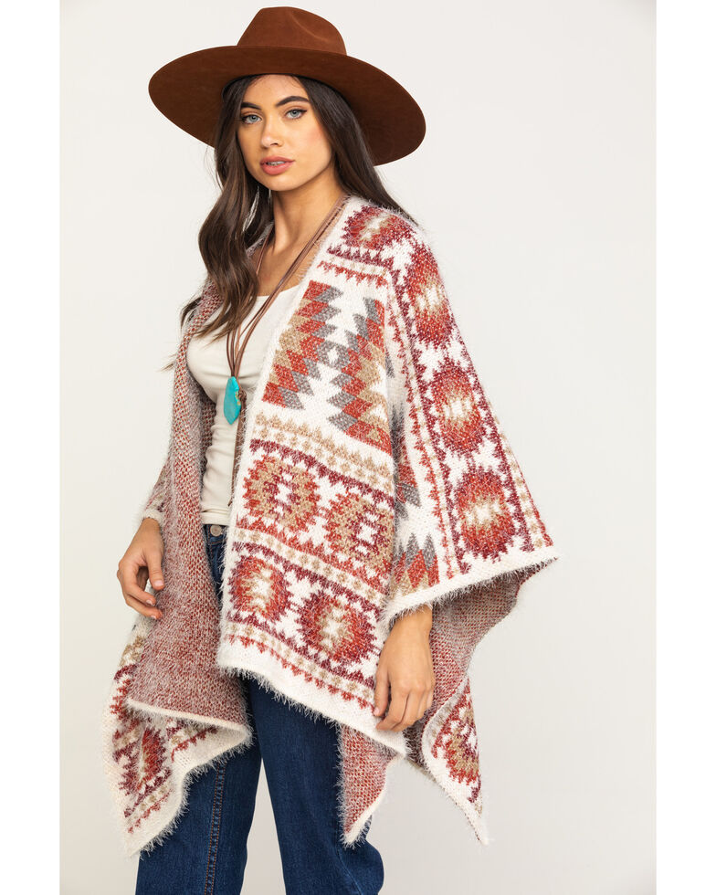 Shyanne Women's Multi Aztec Eyelash Knit Cape Shawl, Multi, hi-res
