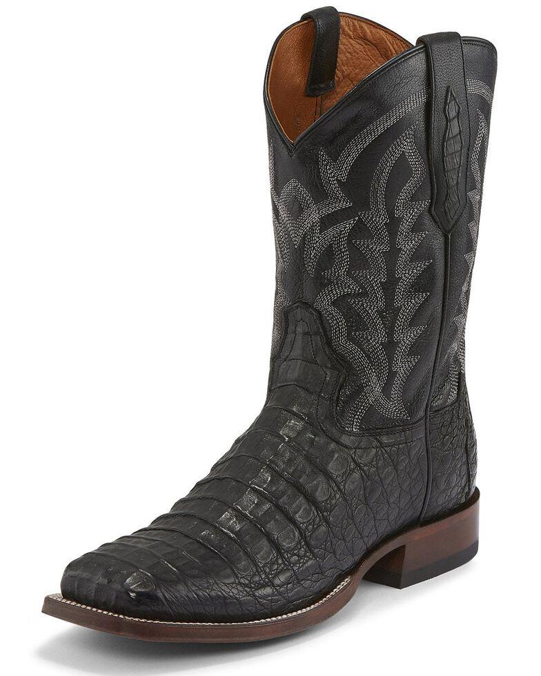 Tony Lama Men's Black Hornback Caiman Boots - Square Toe , Black, hi-res