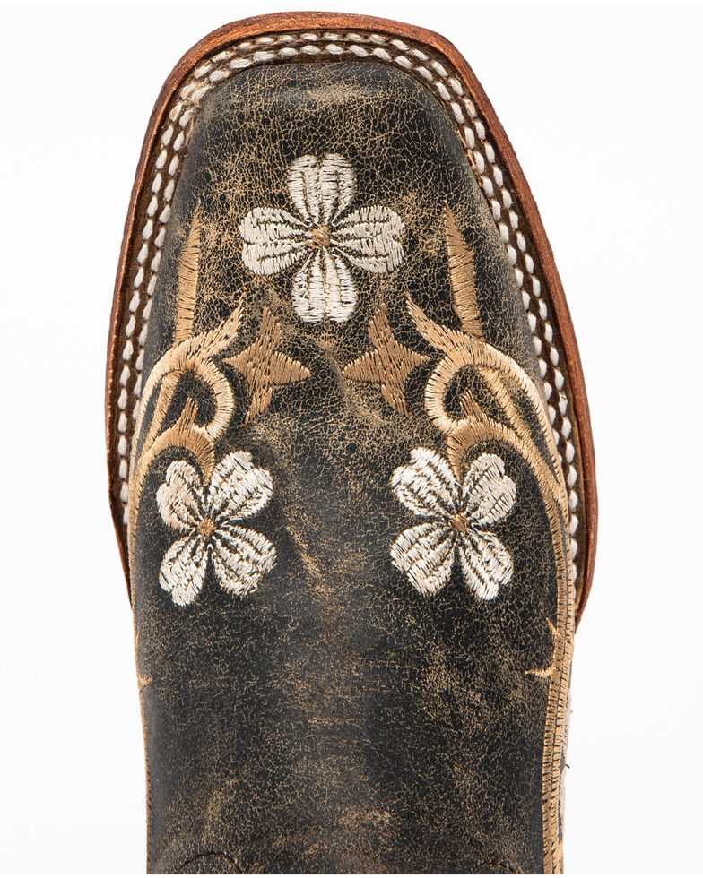 Circle G Honey Cowhide Cowgirl Boots - Square Toe , Honey, hi-res