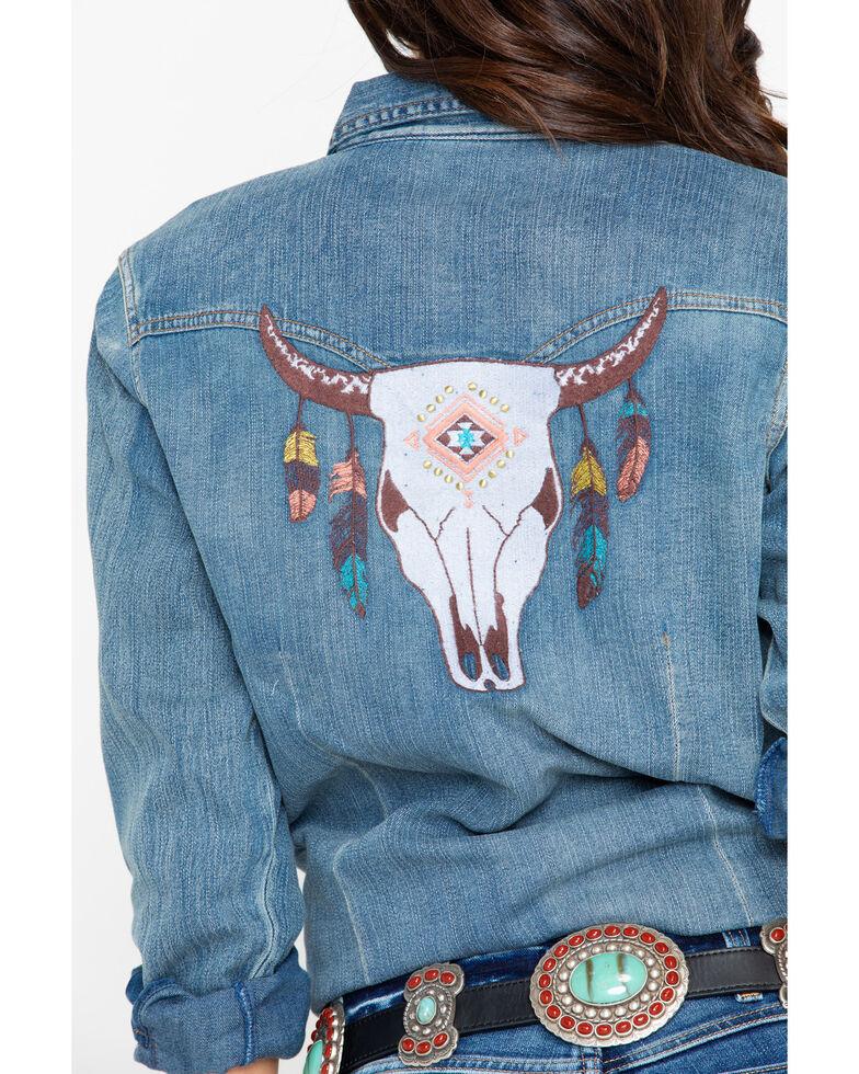 Wrangler Women's Embroidered Yoke Steer Head Back Denim Long Sleeve Shirt , Blue, hi-res