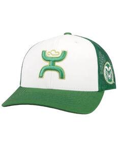 HOOey Men's White & Green Colorado State Logo Embroidered Mesh-Back Trucker Cap , White, hi-res