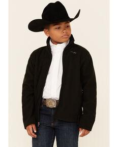 Powder River Outfitters Boys' Black Honeycomb Performance Zip-Front Fleece Jacket , Black, hi-res