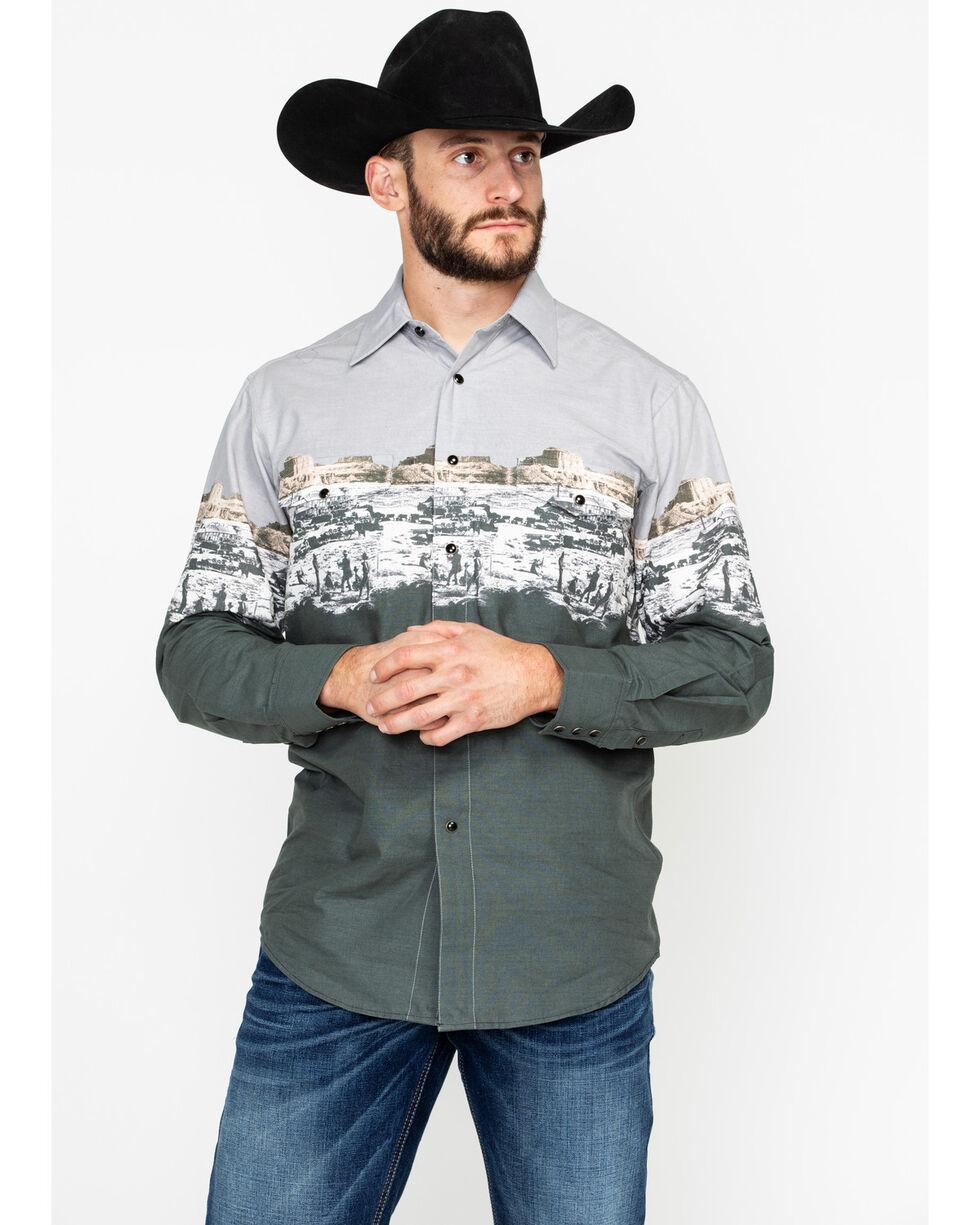 Panhandle Men's Scenic Border Long Sleeve Western Shirt, Grey, hi-res