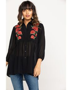 Ariat Women's Black Rosey Tunic, Black, hi-res