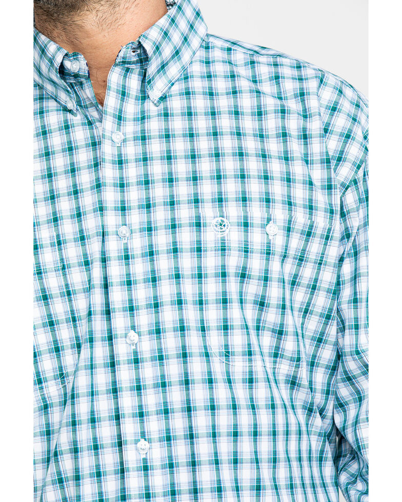 George Strait by Wrangler Men's Green Small Plaid Long Sleeve Western Shirt , Green, hi-res
