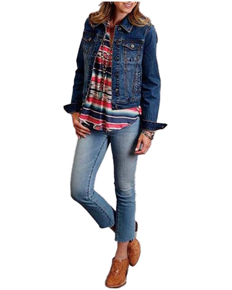 Stetson Women's Stretch Denim Welt Pocket Button-Front Jacket , Blue, hi-res