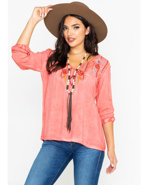 Panhandle Women's Aztec Coral Rose Long Sleeve Top, Coral, hi-res