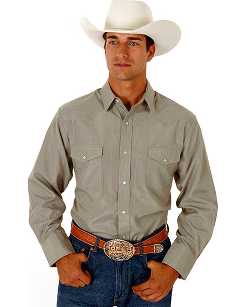 Roper Men's Tone On Tone Long Sleeve Western Shirt, Green, hi-res