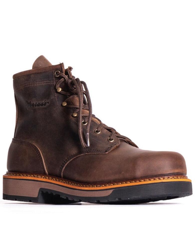 "Silverado Men's 6"" Lace-Up Work Boots - Steel Toe, Brown, hi-res"