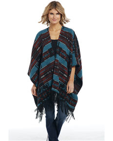Cripple Creek Women's Turquoise Navajo Blanket Wrap Poncho , Turquoise, hi-res