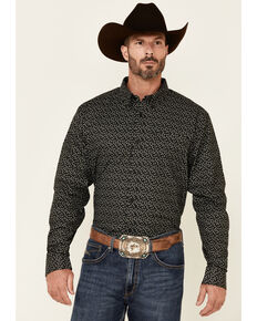 Cody James Core Men's Bovine Floral Print Long Sleeve Button-Down Western Shirt - Big & Tall , Black, hi-res