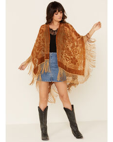 Idyllwind Women's Brown Dancer Fringe Shawl, Brown, hi-res