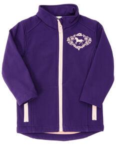 Shyanne Toddler Girls' Purple Horse Embroidered Zip-Front Softshell Jacket , Purple, hi-res