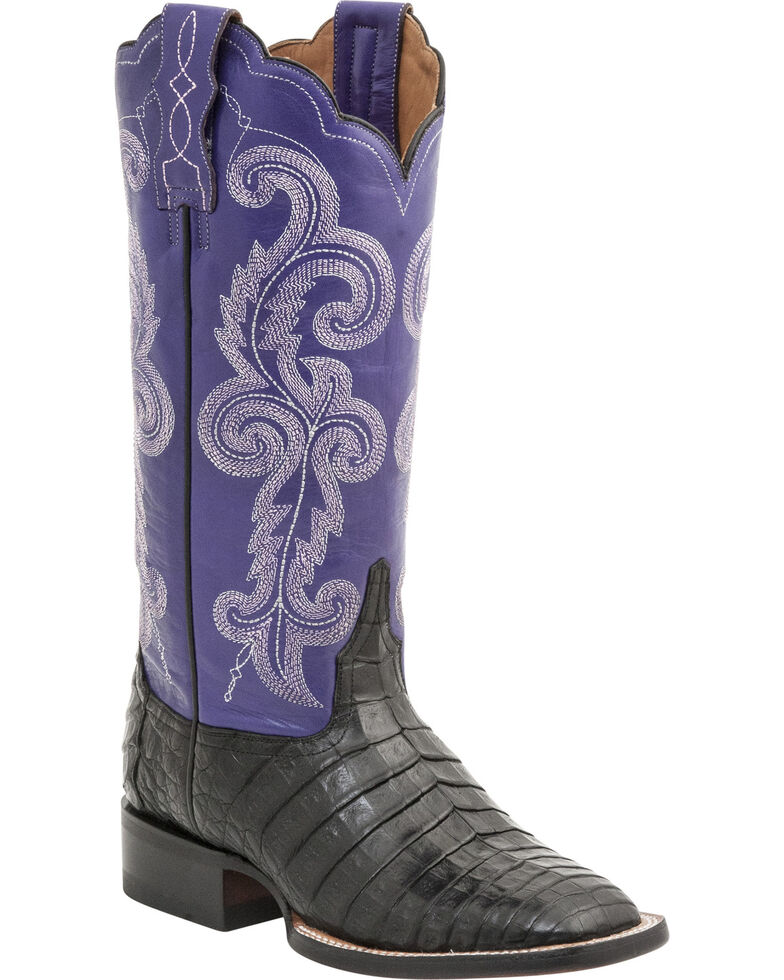 Lucchese Handmade 1883 Women's Annalyn Ultra Caiman Belly Boots - Square Toe, Black, hi-res