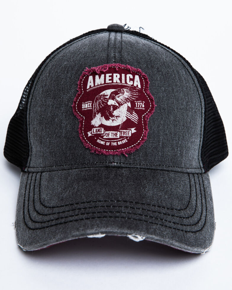 Cody James Men's Grey America Free Patch Mesh Ball Cap, Grey, hi-res