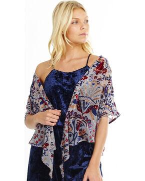 Mary & Mabel Lotus Grey Burnout Short Kimono, Grey, hi-res