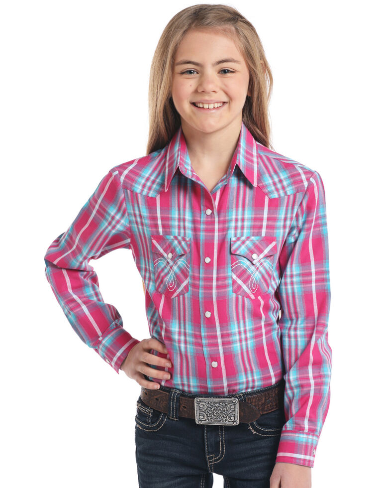 White Label by Panhandle Girls' Pink Plaid Long Sleeve Western Shirt, Pink, hi-res