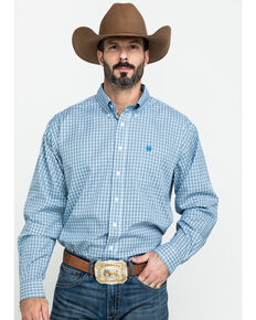 Cinch Men's Tencel White Small Plaid Long Sleeve Western Shirt , White, hi-res