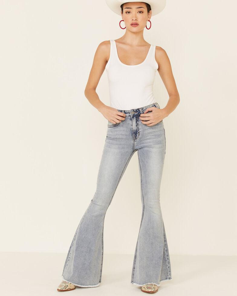 Rock & Roll Denim Women's Frayed Hem Bell Bottom Jeans, Light Blue, hi-res